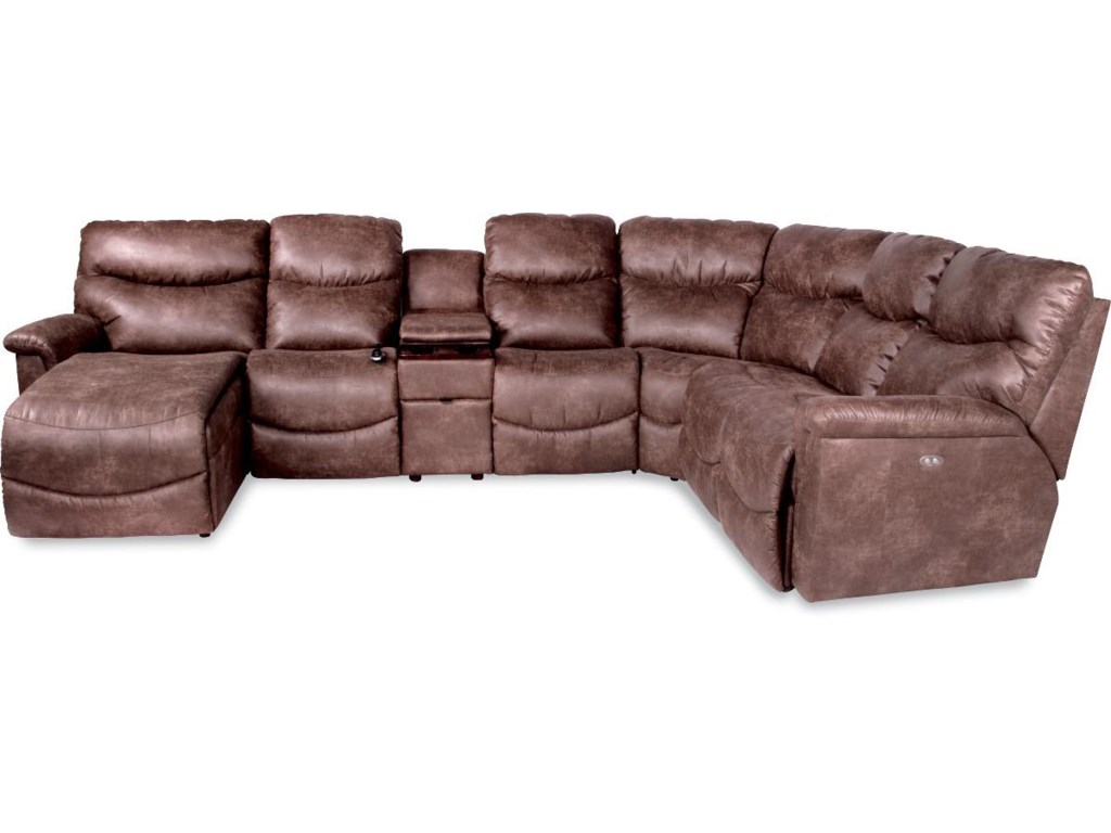 La-Z-Boy James6 Pc Pwr Recl Sectional w/ RAS Chaise & Head