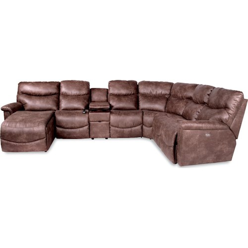 La Z Boy James Six Piece Power Reclining Sectional With RAS Chaise