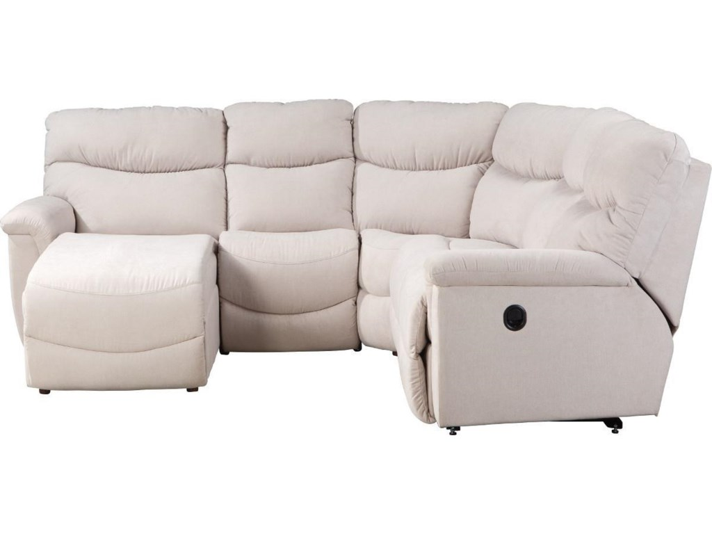 James Four Piece Power Reclining Sectional Sofa with RAS Reclining Chaise  by La-Z-Boy at Conlin\'s Furniture