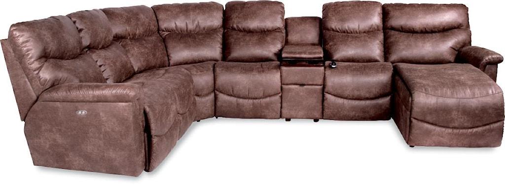 La Z Boy James Six Piece Power Reclining Sectional With Las Chaise  ~ Reclining Sectional Sofa With Chaise Lounge