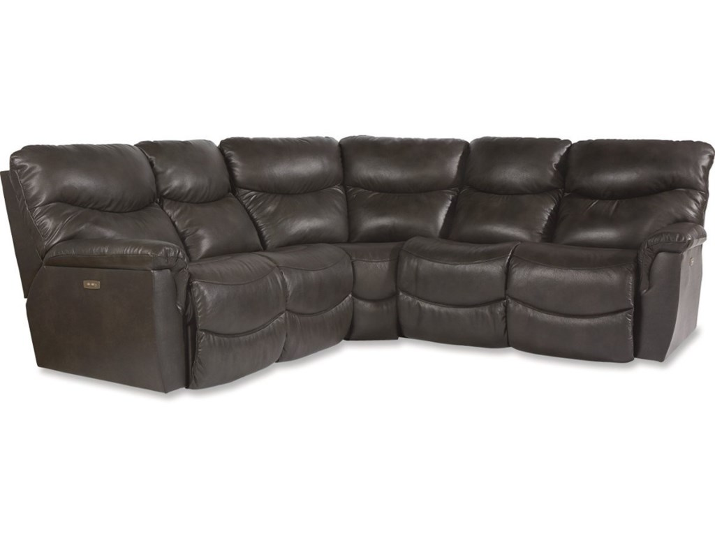 James Three Piece Power Reclining Sectional Sofa with Power Headrests and  USB Ports by La-Z-Boy at Rune\'s Furniture