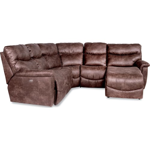 La-Z-Boy James Four Piece Reclining Sectional Sofa with LAS Reclining Chaise