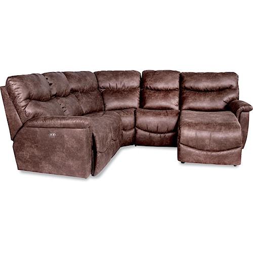La-Z-Boy Palladin Four Piece Power Reclining Sectional Sofa with RAS Reclining Chaise