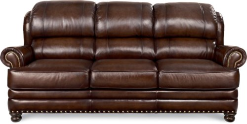 Style Of La Z Boy JAMISON Traditional Leather Sofa with Turned Arms and Nail Head Trim Contemporary - New Lazy Boy Leather sofas Unique
