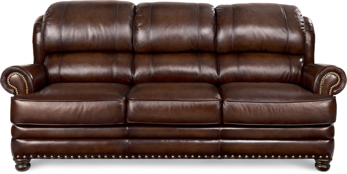 La Z Boy JAMISON Traditional Leather Sofa With Turned Arms And Nail Head  Trim