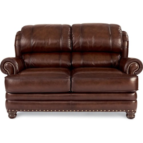 La-Z-Boy JAMISON Traditional Leather Loveseat with Rolled Arms and Nail Head Trim