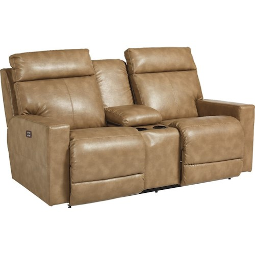 La-Z-Boy Jax Contemporary Reclining Loveseat with Cupholders and Storage Console