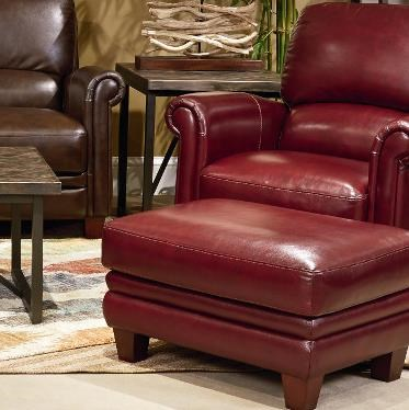lazboy julius leather chair and ottoman set with bustle back and rolled arms great american home store chair u0026 ottoman