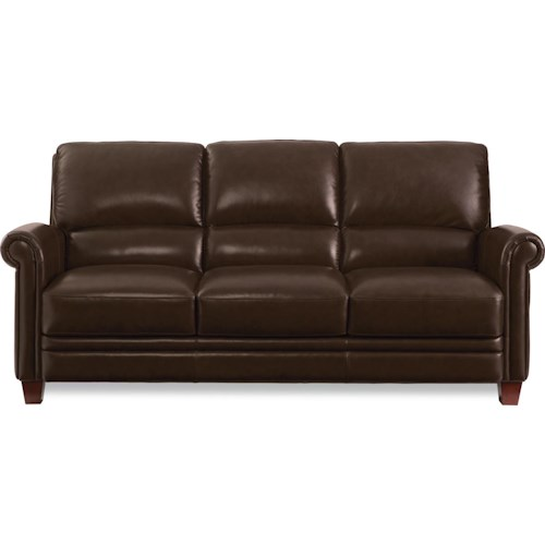 La Z Boy Julius Leather Sofa With Bustle Back And Rolled Arms