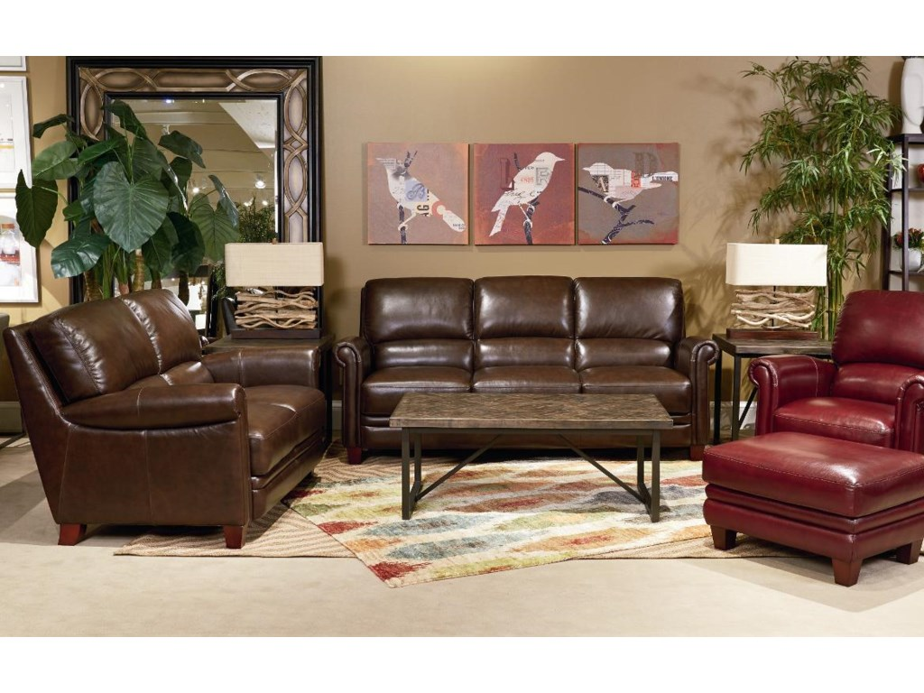 La Z Boy Living Room Set La Z Boy Julius Leather Sofa With Bustle Back And Rolled Arms