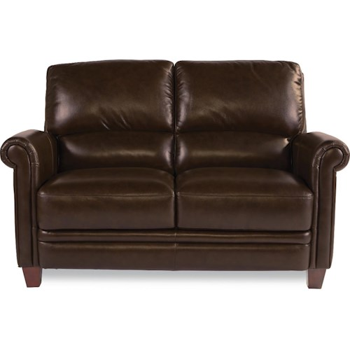 La-Z-Boy JULIUS Leather Loveseat with Bustle Back and Rolled Arms