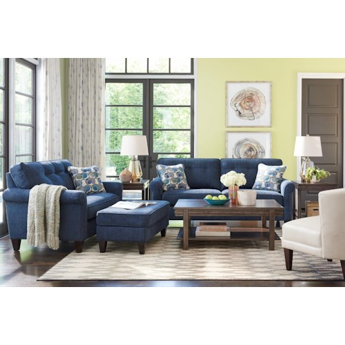 La Z Boy Laurel Stationary On Tufted Sofa Boulevard Home Furnishings Sofas