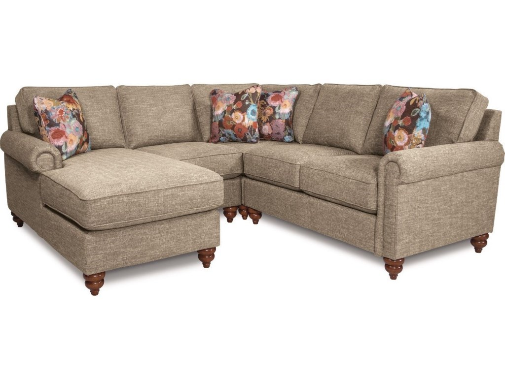 La Z Boy LEIGHTON Traditional Four Piece Sectional Sofa With Right