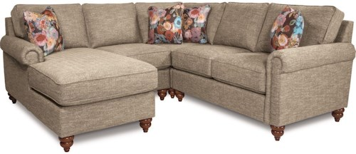 LaZBoy LEIGHTON Traditional Four Piece Sectional Sofa With Right - La z boy chaise sofa