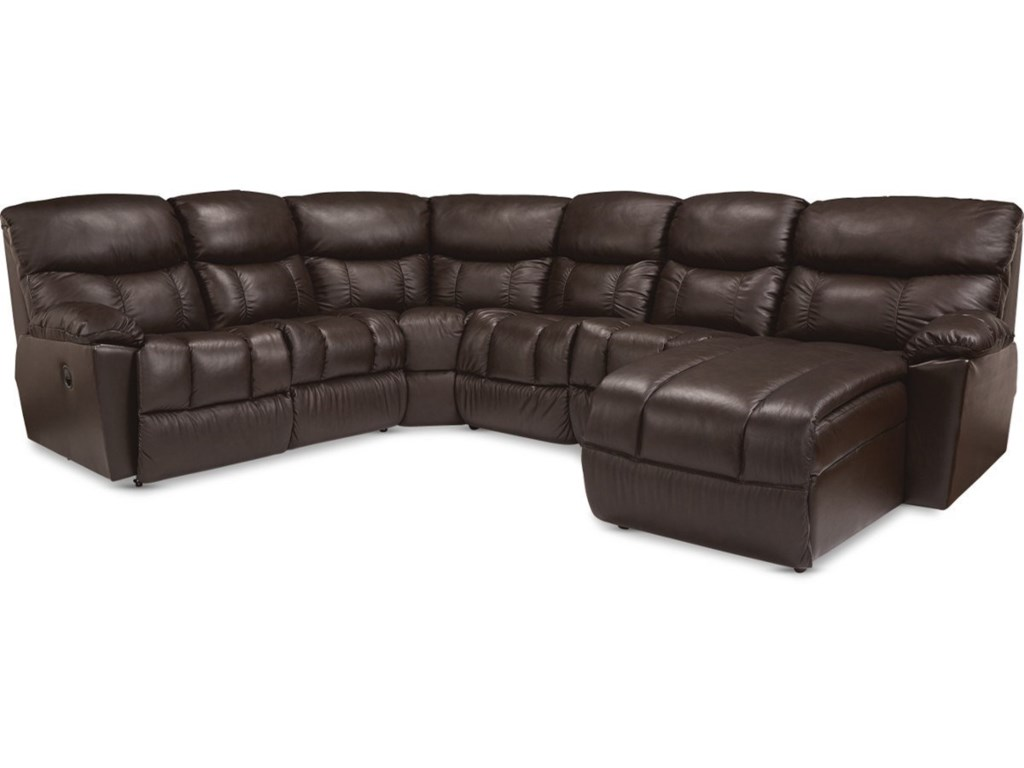 Morrison Casual 5-Seat Power Reclining Sectional Sofa with USB Charging  Ports and RAF Reclining Chaise by La-Z-Boy at Conlin\'s Furniture