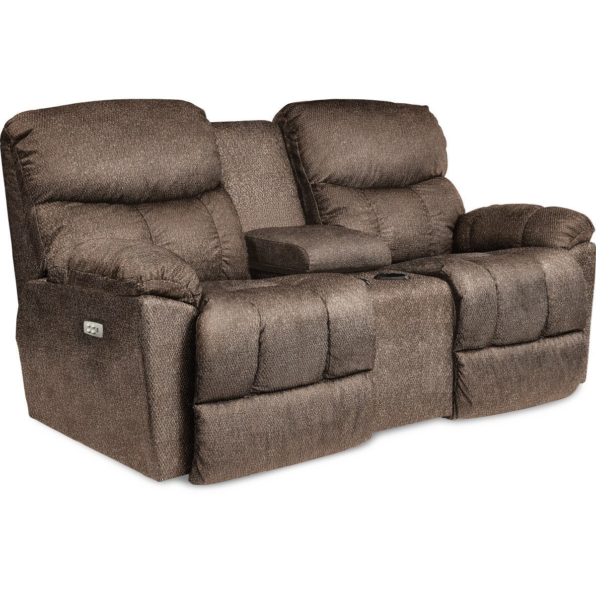 Picture of: La Z Boy Morrison Casual Reclining Loveseat With Cupholder Storage Console Conlin S Furniture Reclining Loveseats