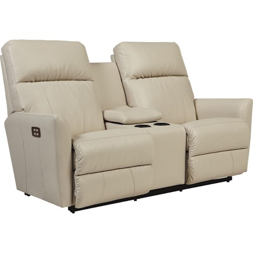 La-Z-Boy Odon Contemporary Power-Recline-XRw™ Wall-Saver Reclining Loveseat with Cupholder Console
