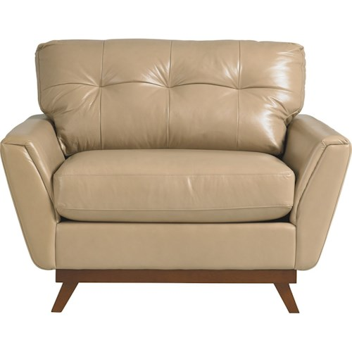 La-Z-Boy Rave Mid Century Modern Chair-and-a-Half with Tufted Back Cushions and Flared Arms