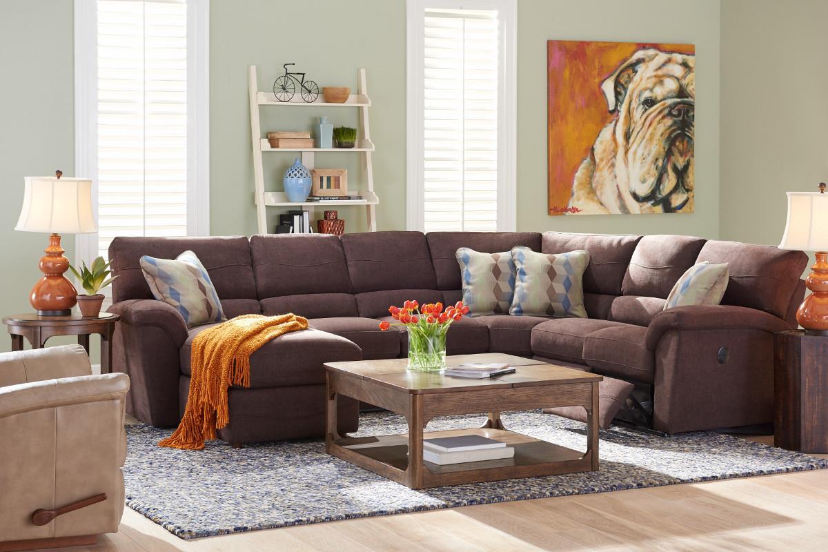 La Z Boy Reese Six Piece Power Reclining Sectional Sofa W/ RAS Chaise