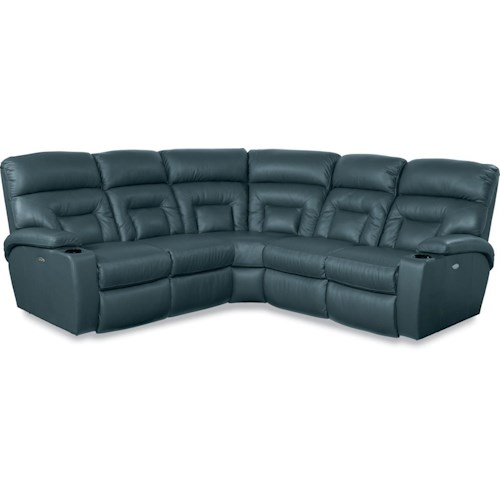 La-Z-Boy Spectator 5 Piece Power Reclining Sectional Sofa with Lighting Cupholders