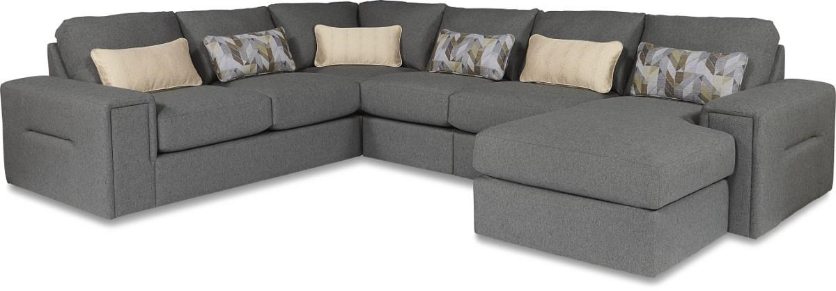 La Z Boy Structure Five Piece Modern Sectional Sofa With Architectural  Lines And RAF Chaise   Great American Home Store   Sofa Sectional