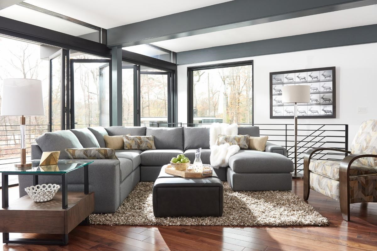 La-Z-Boy Structure Five Piece Modern Sectional Sofa with Architectural Lines and RAF Chaise : lazboy sectionals - Sectionals, Sofas & Couches