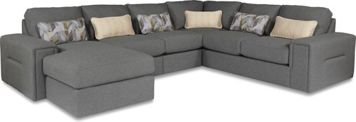 La-Z-Boy Structure Five Piece Modern Sectional Sofa with Architectural Lines and LAF Chaise