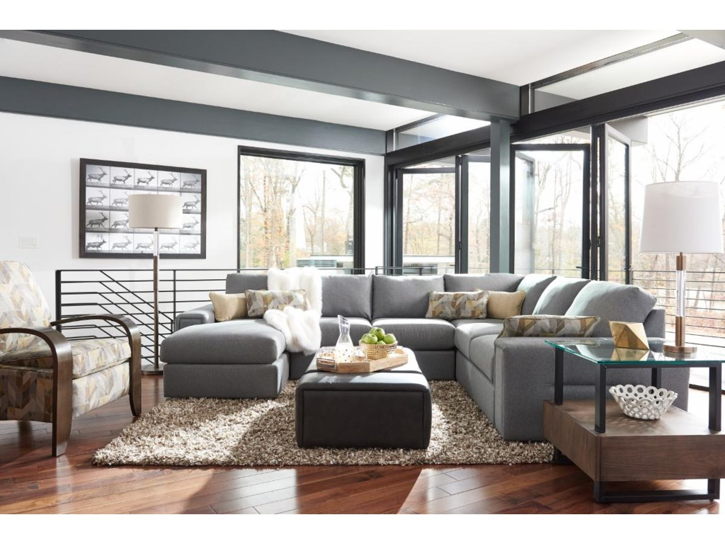 La-Z-Boy Structure Five Piece Modern Sectional Sofa with ...