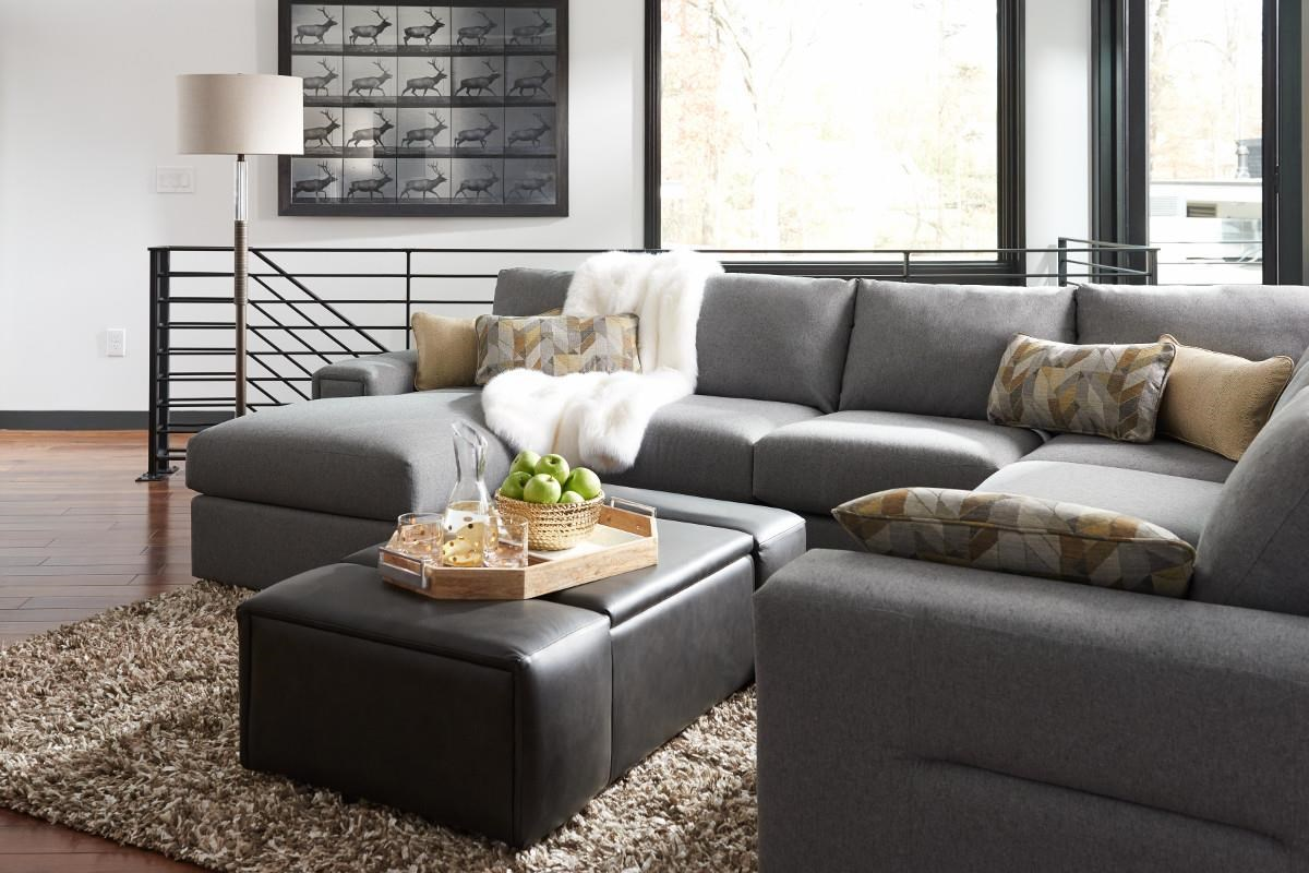 structure five piece modern sectional sofa with lines and laf chaise by lazboy - Lazy Boy Sofa Bed