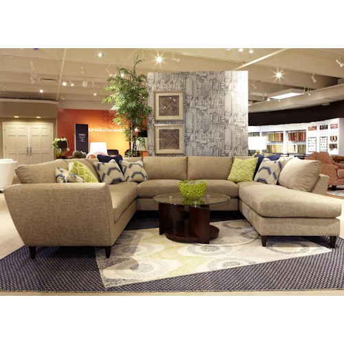 La-Z-Boy Tribeca Contemporary Five Piece Sectional Sofa with LAS Chaise