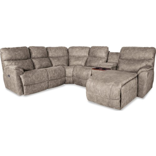 La Z Boy Trouper Five Piece Reclining Sofa With Left Sitting Tilt Back