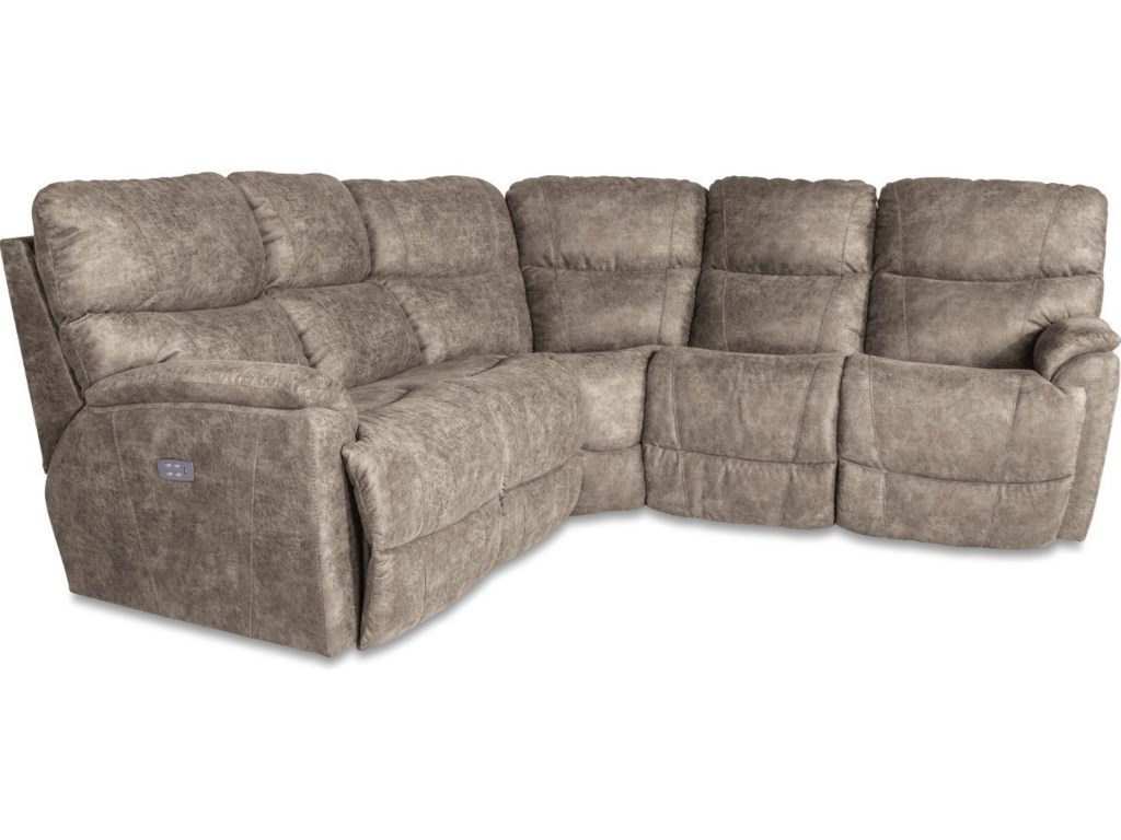 Trouper Three Piece Power Reclining Corner Sectional Sofa with Power  Headrests and USB Ports by La-Z-Boy at Conlin\'s Furniture