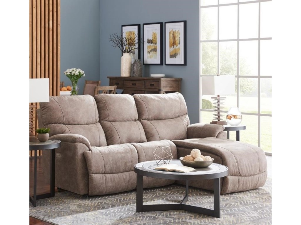 La Z Boy Trouper Two Piece Reclining Sectional Sofa With Left Sitting Tilt Back Chaise