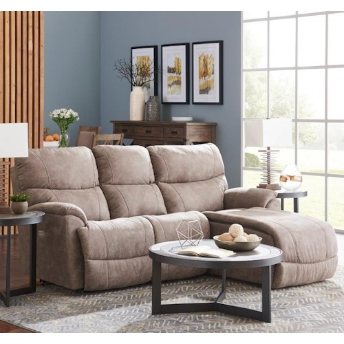 La-Z-Boy Trouper Two Piece Reclining Sectional Sofa with Left-Sitting Tilt Back Chaise
