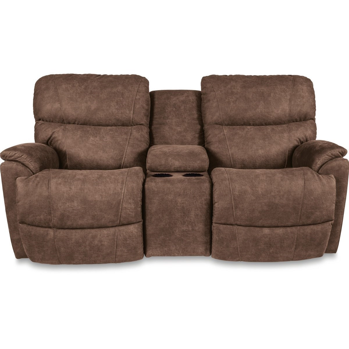 Picture of: La Z Boy Trouper Reclining Loveseat With Cupholder Storage Console Conlin S Furniture Reclining Loveseats