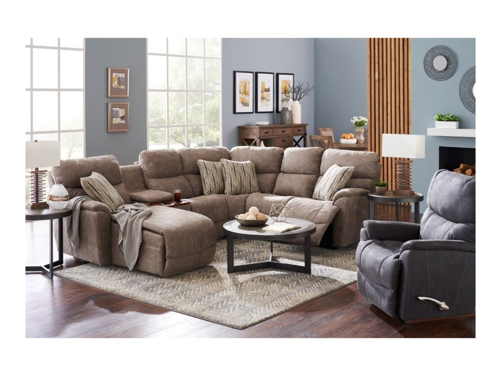 La-Z-Boy Trouper5 Pc Pwr Reclining Sofa w/ RAS Chaise