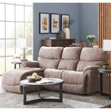 2 Pc Reclining Sectional Sofa w/ RAS Chaise