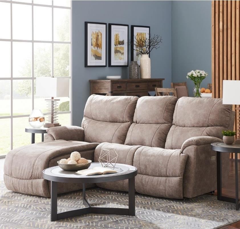 La Z Boy Trouper Two Piece Reclining Sectional Sofa With Right