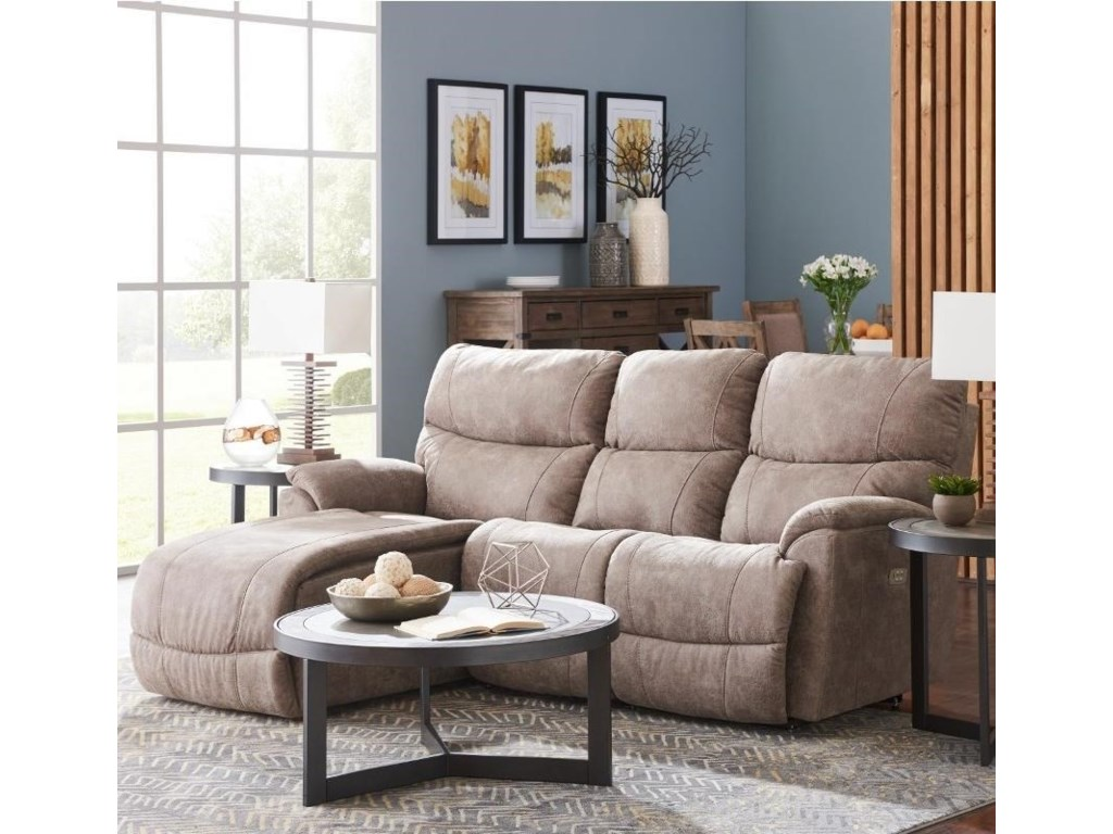 Trouper Two Piece Reclining Sectional Sofa with Right-Sitting Tilt Back  Chaise by La-Z-Boy at Conlin\'s Furniture