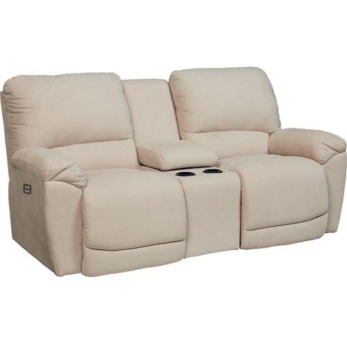 La Z Boy Tyler Casual Power La Z Time Full Reclining Loveseat With Center Console And Cup
