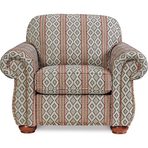 La-Z-Boy Wales Traditional Chair with Rolled Arms and Two Sizes of Nailheads