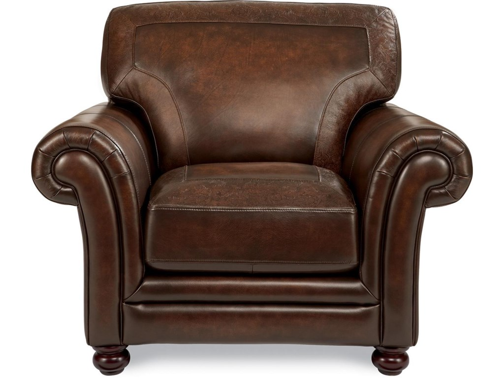 La Z Boy William Traditional Stationary Chair With Tooled Leather Cushion Border