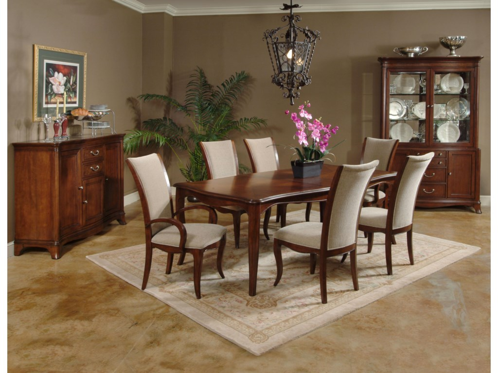 Shown with Dining Table, Side Chairs, Arm Chairs, and China Cabinet