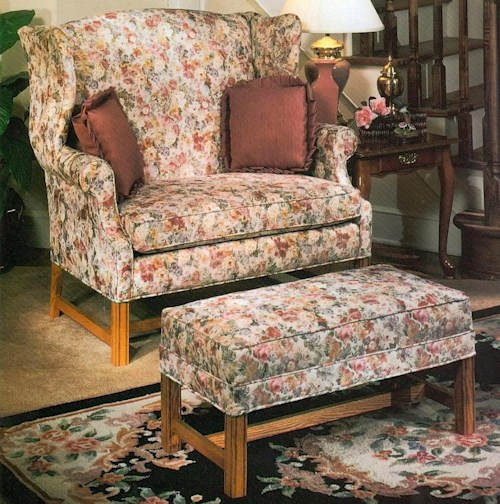 Lancer 1336 Wing Chair & 1/2 and Ottoman with Oak Chippendale Bases