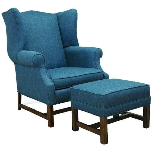 Lancer 1414 Traditional High Back Chair and Ottoman with Oak Chippendale Bases