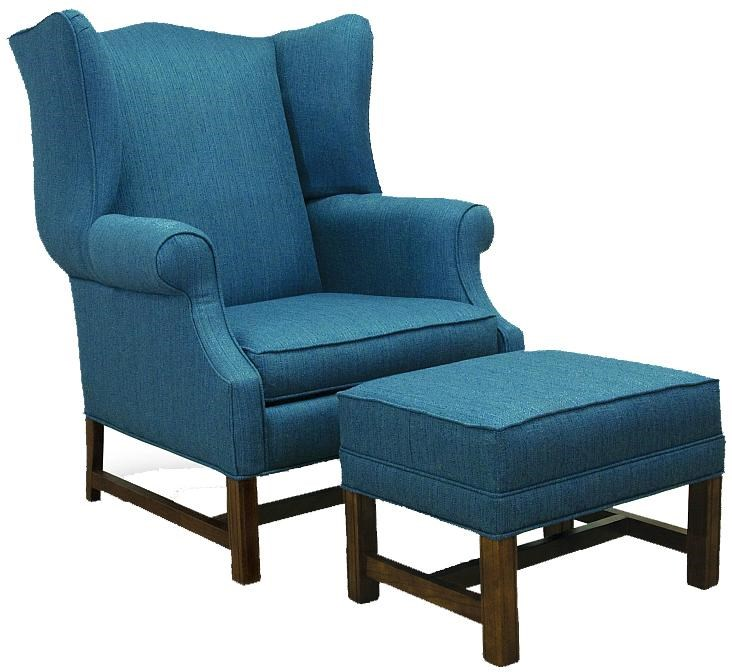 Ordinaire Lancer 1414 Traditional High Back Chair And Ottoman With Oak Chippendale  Bases