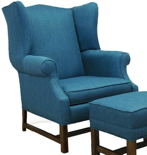 Lancer 1414 Traditional High Back Chair with Oak Chippendale Base