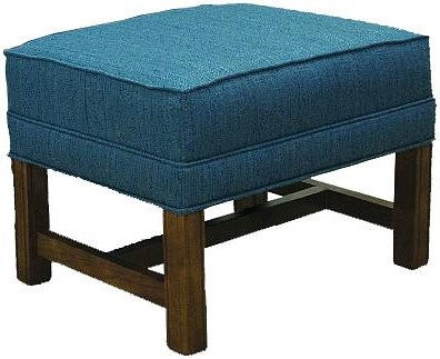 Lancer 1414 Traditional Ottoman with Oak Chippendale Base