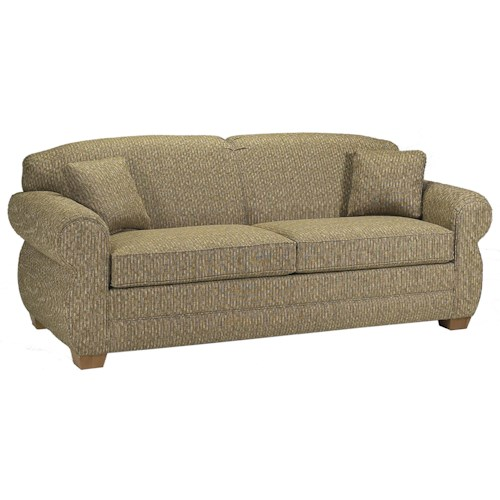 Lancer 2700 Stationary Sofa with Rolled Arms and Tapered Wood Feet