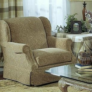 Lancer 5120 Traditional Wing Chair with Tight Back and Skirted Base
